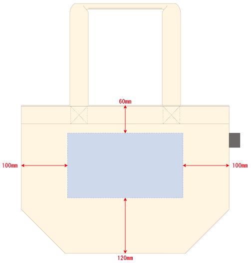 デザインスペース:W250×H140(mm) ■シルク印刷 最大範囲:W250×H140(mm)