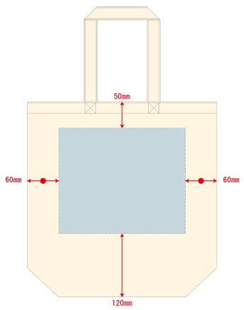 キャンバストート(M) の印刷範囲W240×H200(mm)