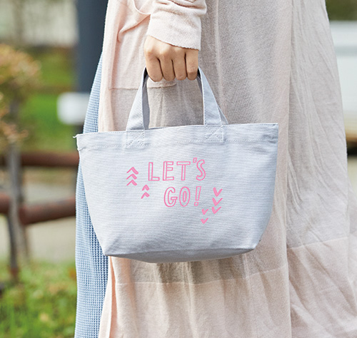 ピンク色でシルク印刷1色刷りの作例です