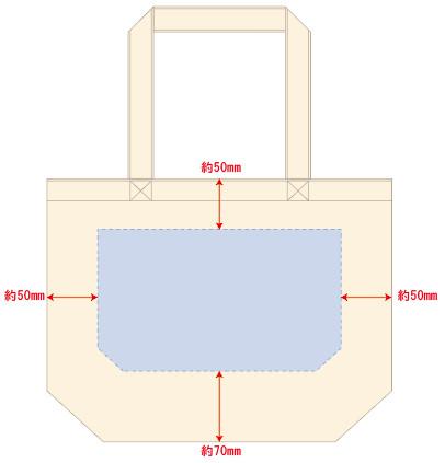 キャンバストート(SM)ナチュラルの印刷範囲図