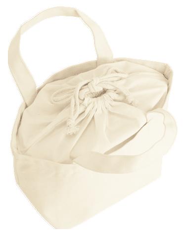 バッグ口を巾着で綺麗に覆っています