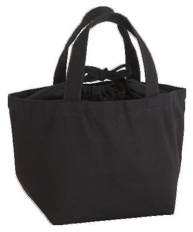 厚手キャンバス巾着付トート(S) ナイトブラック 巾着口を備えていて、紐でしっかり口を結ぶことができます