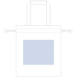 厚手コットンガゼット巾着トート(M)印刷サイズW210×H170(mm)