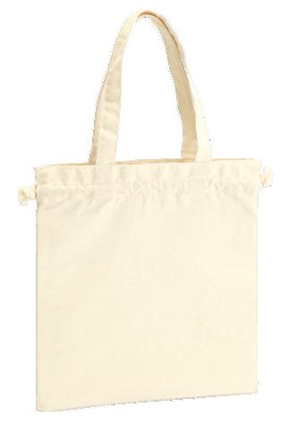 厚手コットンガゼット巾着トート(M)スクエアな形状でも使用できます