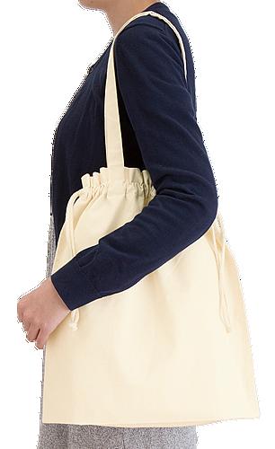厚手コットンガゼット巾着トート(L) ナチュラル 本体/約380×410×120(mm)・持ち手/約25×560(mm)