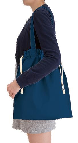 厚手コットンガゼット巾着トート(L)本体/約380×410×120(mm)・持ち手/約25×560(mm)