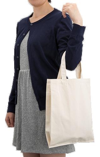 ライトキャンバスバッグ横マチ付(M) ナチュラル 本体/約270×340(mm)・持ち手/約25×360(mm) 折りたたみマチ/約70(mm)