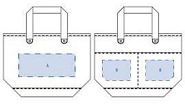 A:レイアウト可能範囲:W220×H90(mm)   シルク印刷 最大範囲:W220×H90(mm)  (ポケット面)  B:レイアウト可能範囲:W110×H80(mm)   シルク印刷 最大範囲:W110×H80(mm)