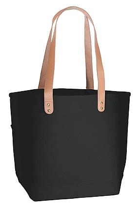 厚手キャンバスレザーハンドルトート(M) ナイトブラックマチも16cmでたっぷり容量  バッグ横に2箇所の外ポケットがあります。