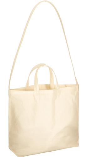 厚手コットンWスタイルバッグ ナチュラル たっぷり長めのショルダーと、手持ちハンドルのWスタイル