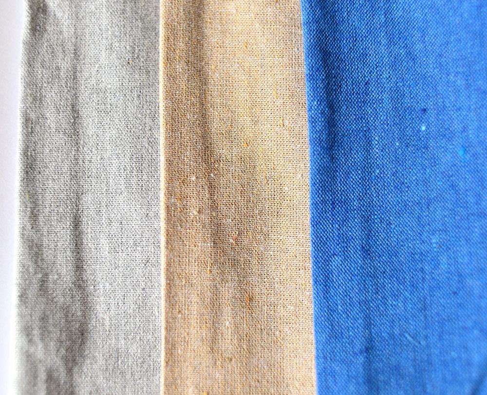シャンブリック生地3色のアップ撮影画像