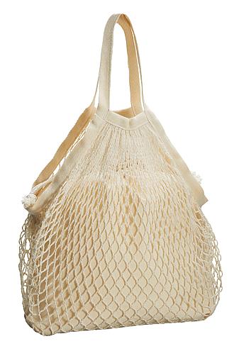 ネットバッグ 厚手コットン巾着付 ナチュラル メッシュ部分と巾着のセット