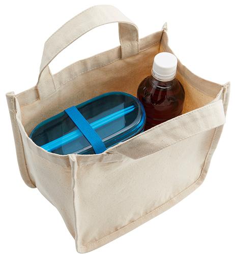 お弁当や飲み物ボトルを入れても余裕のあるランチトートバッグ