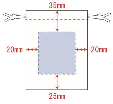 デザインスペース範囲:W60×H70(mm)   シルク印刷 最大範囲:W60×H70(mm)