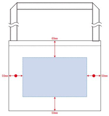 デザインスペース:W230×H140(mm) ■シルク印刷 最大範囲:W230×H140(mm)