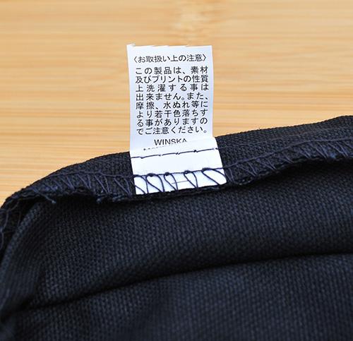 ナチュラルにはタグがなく、ブルーとブラックには洗濯・色落ちについてのタグがありました