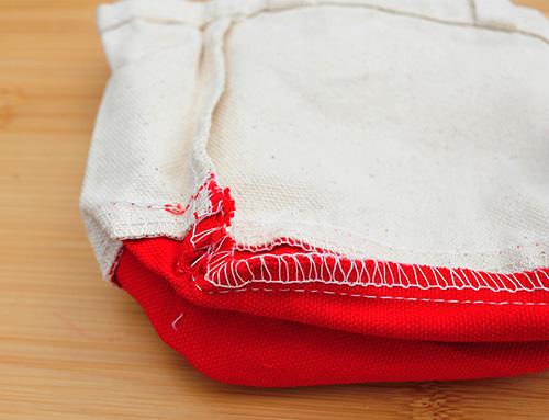 バッグ角の縫製