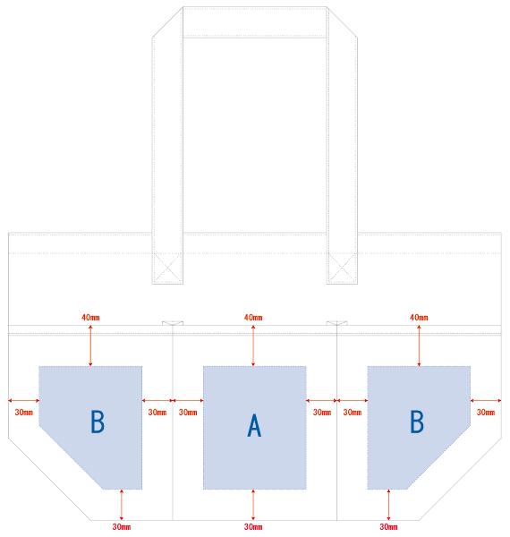 デザインスペース:A/W100×H120(mm) B/W100×H120(mm) ■シルク印刷 最大範囲:A/W100×H120(mm) B/W100×H120(mm)