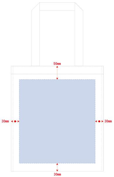 デザインスペース:W280×H310(mm) この内シルク印刷 印刷可能範囲:W250×H250(mm)