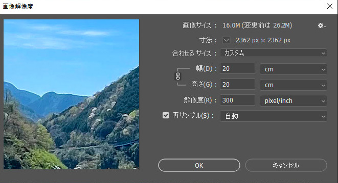「画像解像度」のダイアログの設定
