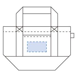 オゾン漂白 バイカラーバッグ(S)印刷範囲